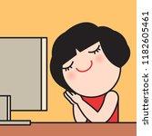 a cute business woman... | Shutterstock .eps vector #1182605461