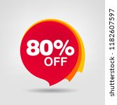 80  off discount sticker. sale... | Shutterstock .eps vector #1182607597