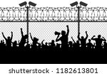crowd of people behind bars... | Shutterstock .eps vector #1182613801