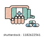 hand with bottle medical... | Shutterstock .eps vector #1182622561