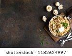 mushroom spaghetti pasta and... | Shutterstock . vector #1182624997