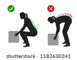 correct posture to lift a heavy ... | Shutterstock .eps vector #1182630241