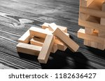 close up blocks wood game... | Shutterstock . vector #1182636427