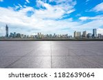 empty square with city skyline... | Shutterstock . vector #1182639064