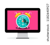 ringing alarm clock on computer ... | Shutterstock .eps vector #1182640927