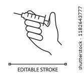 injection linear icon. hand... | Shutterstock .eps vector #1182643777
