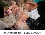 three generations women holding ... | Shutterstock . vector #1182669304