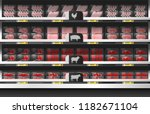 fresh meat for sale display on... | Shutterstock .eps vector #1182671104