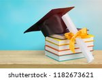 education concept with cap and... | Shutterstock . vector #1182673621