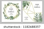 wedding invitation with leaves  ... | Shutterstock .eps vector #1182688357