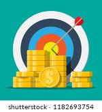 target with arrow and pile of... | Shutterstock . vector #1182693754