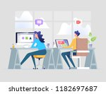 business office workplace man... | Shutterstock .eps vector #1182697687