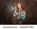 pagan woman is a shaman during... | Shutterstock . vector #1182697981