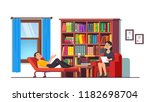 psychologist counseling patient.... | Shutterstock .eps vector #1182698704