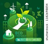 eco green city.save the world... | Shutterstock .eps vector #1182698854