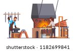 blacksmith man working with... | Shutterstock .eps vector #1182699841