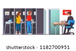 people voting at modern voting... | Shutterstock .eps vector #1182700951