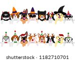 cute pups border set  with... | Shutterstock .eps vector #1182710701