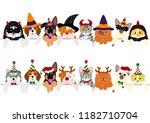 cute puppies and kitties border ... | Shutterstock .eps vector #1182710704