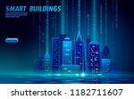 smart city 3d neon glowing... | Shutterstock .eps vector #1182711607
