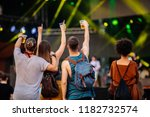 cropped shot of four friends... | Shutterstock . vector #1182732574