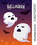 halloween card with ghost... | Shutterstock .eps vector #1182732937