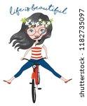 happy little girl with bunch of ... | Shutterstock .eps vector #1182735097
