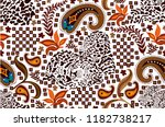 ethnic paisley pattern with... | Shutterstock .eps vector #1182738217