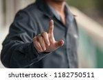 businessman point by forefinger ...   Shutterstock . vector #1182750511