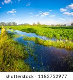 potato crops blue sky and water | Shutterstock . vector #1182752977