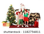 kids and santa standing near... | Shutterstock . vector #1182756811