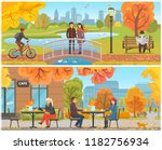 autumn park and relaxing... | Shutterstock .eps vector #1182756934