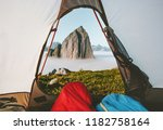 camping tent mountain morning... | Shutterstock . vector #1182758164