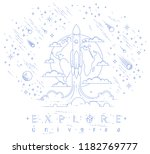 rocket start from earth to... | Shutterstock .eps vector #1182769777