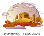 farm in scenic autumn landscape ... | Shutterstock .eps vector #1182770641