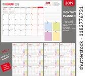 monthly planner 2019  planner... | Shutterstock .eps vector #1182776731