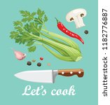 let's cook poster. kitchen... | Shutterstock .eps vector #1182776887