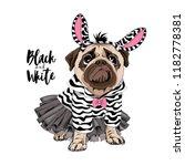 cute pug in a ballerina tutu ... | Shutterstock .eps vector #1182778381