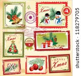 vintage christmas postage set   Shutterstock .eps vector #118279705