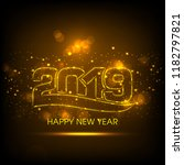 happy new year 2019 text design ... | Shutterstock .eps vector #1182797821