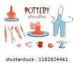 clay pottery workshop studio... | Shutterstock .eps vector #1182824461