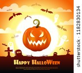 happy halloween night... | Shutterstock .eps vector #1182830134