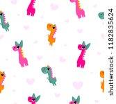 dinosaur girl seamless pattern... | Shutterstock .eps vector #1182835624
