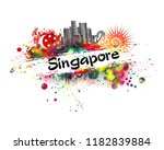 abstraction state of singapore | Shutterstock .eps vector #1182839884