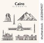 set of hand drawn cairo... | Shutterstock .eps vector #1182840907