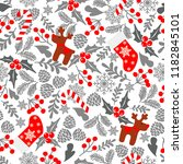 winter seamless vector pattern... | Shutterstock .eps vector #1182845101