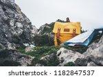 hipster hiker tourist yellow...   Shutterstock . vector #1182847537