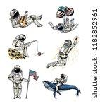 set of astronauts in space....   Shutterstock .eps vector #1182852961