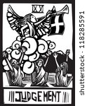Woodcut expressionist style image for the Tarot card judgment. - stock vector