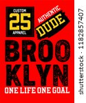 brooklyn authentic dude t shirt ... | Shutterstock .eps vector #1182857407